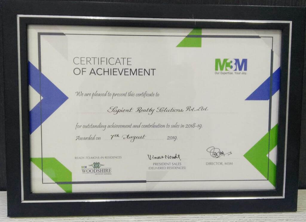 M3M certificate of achievement