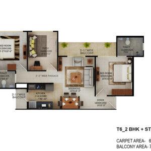 Signature-Global-the-Millennia-2BHK-Study-Type-6-Floor-Plan