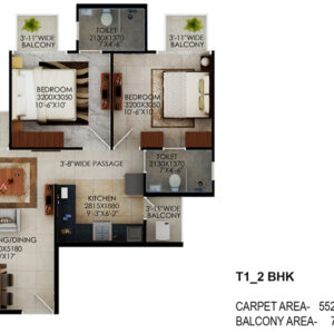 Signature-Global-the-Millennia-2BHK-Type-1-Floor-Plan