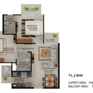 Signature-Global-the-Millennia-2BHK-Type-3-Floor-Plan